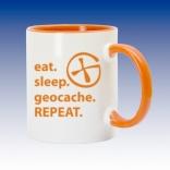 Hrnek oranžová - Eat sleep